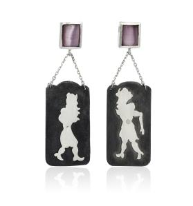 Shadow Screen, Silver Earrings (lilac)